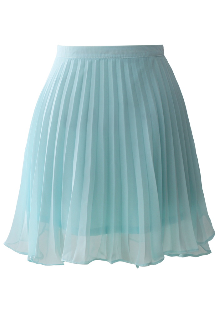 Ethereal Frilling Pleated Skirt in Seafoam
