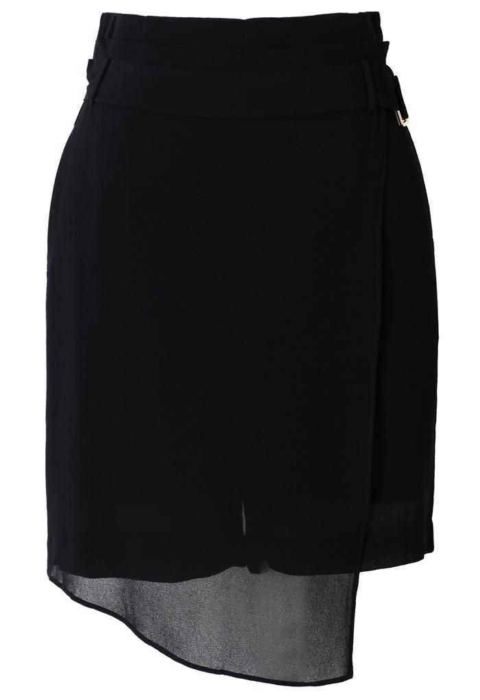 Glam Asymmetric Crepe Skort in Black