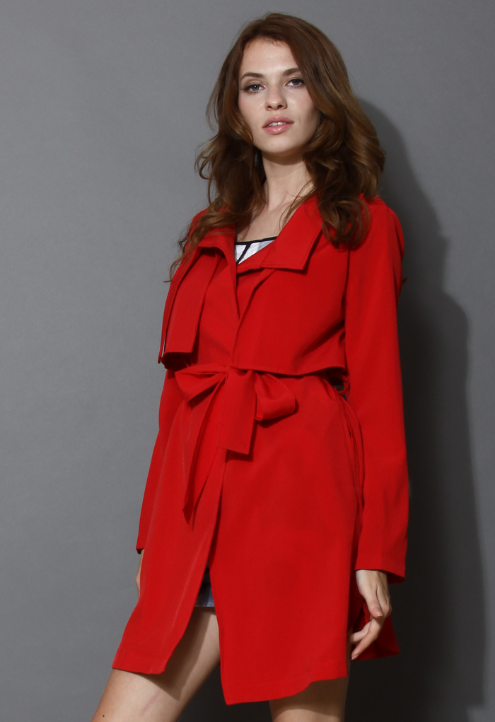 Jubilant Red Belted Trench Coat