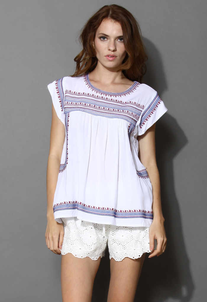 Tribal Boho Embroidered Top