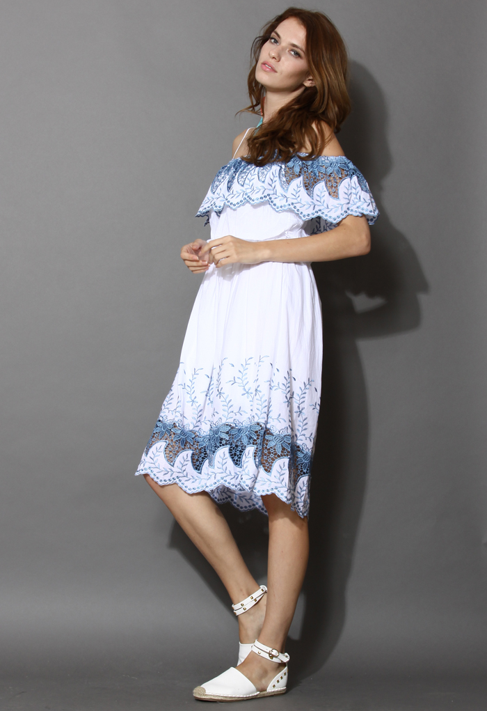 Tenderness Embroidered Off-Shoulder Dress
