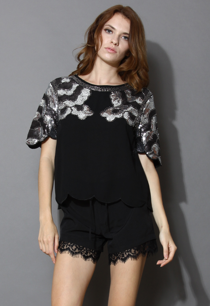 Wavy Sequins Top with Scrolled Hem in Black