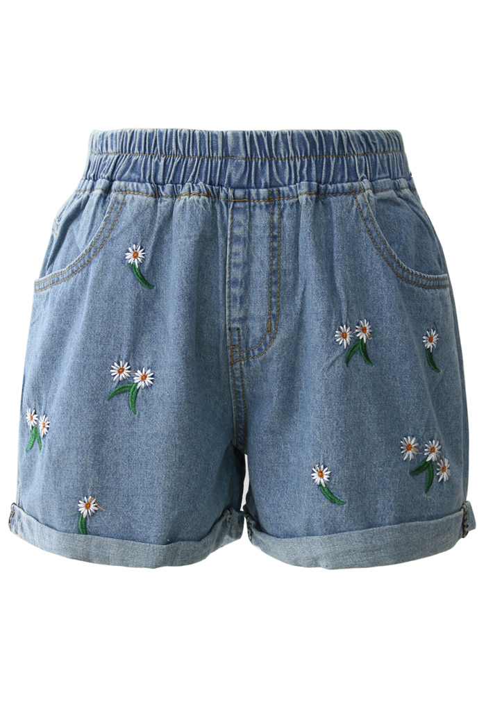 Cheering Daisy Embroidered Denim Shorts