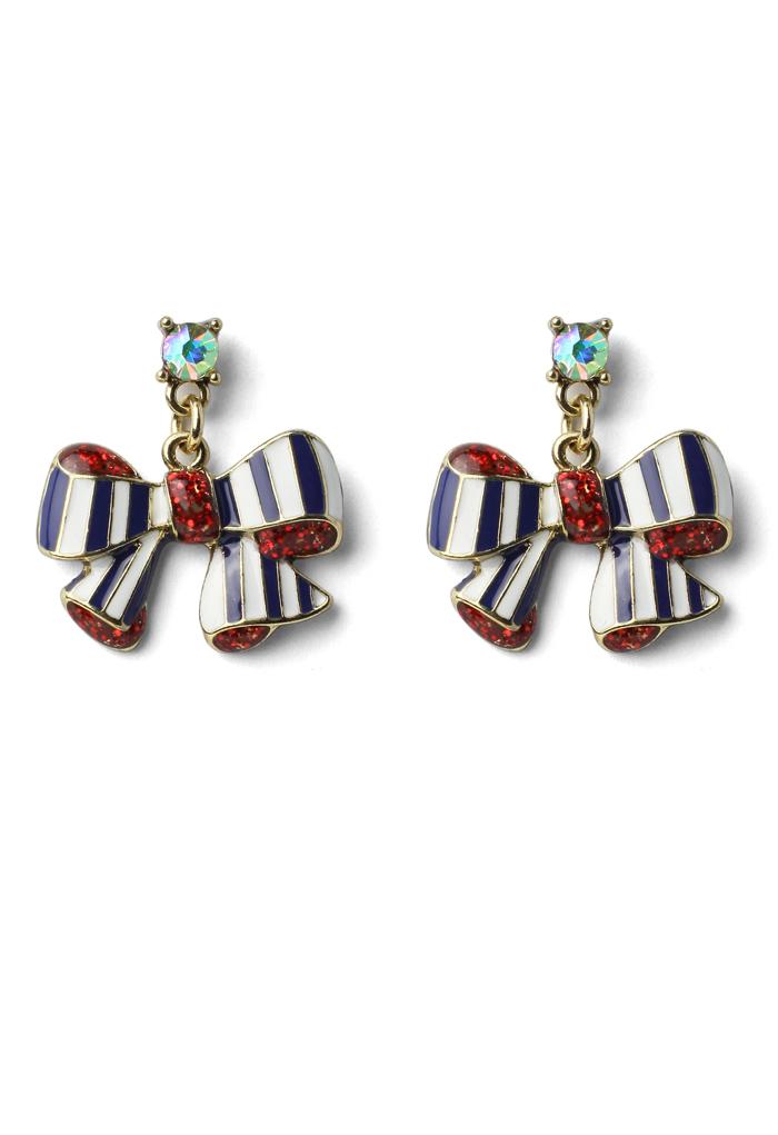 Stripe Bowknot Drop Earrings
