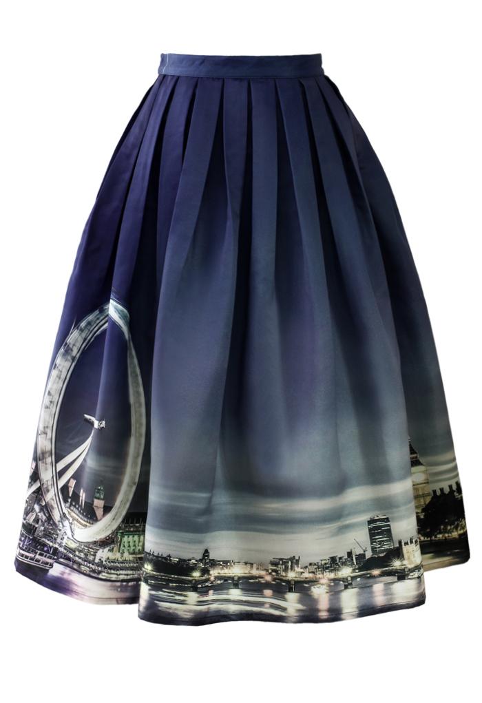 Night Skyline of London Print Midi Skirt