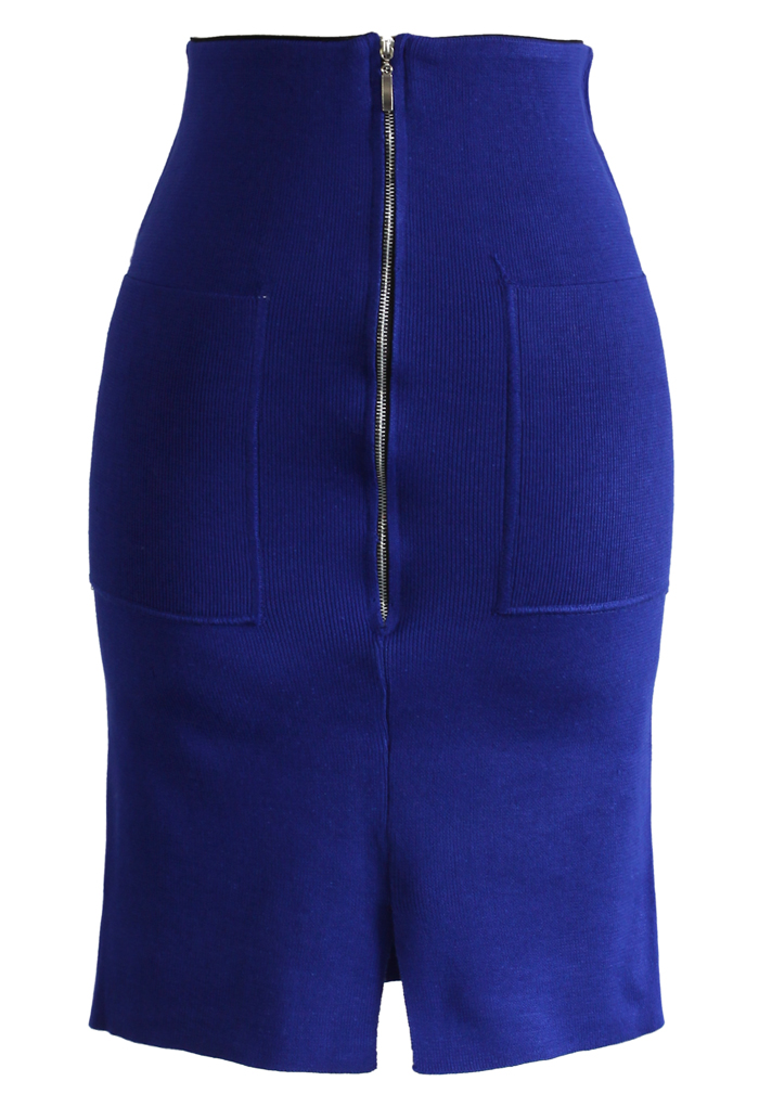 Zipper Knitted Pencil Skirt in Blue