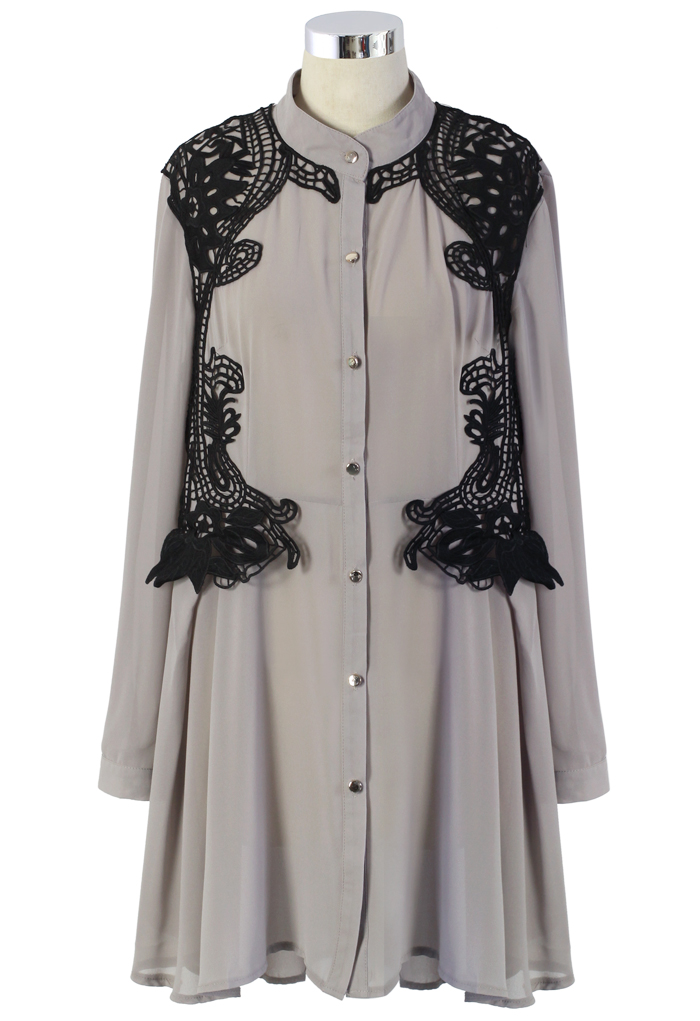 Urban Mist Crochet Trimmed Shirt Dress in Grey
