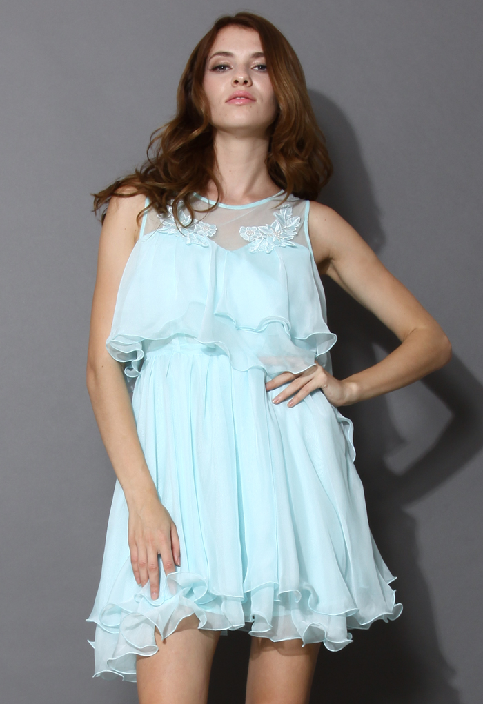 Pixie Embroidered Frilling Dress in Mint Blue
