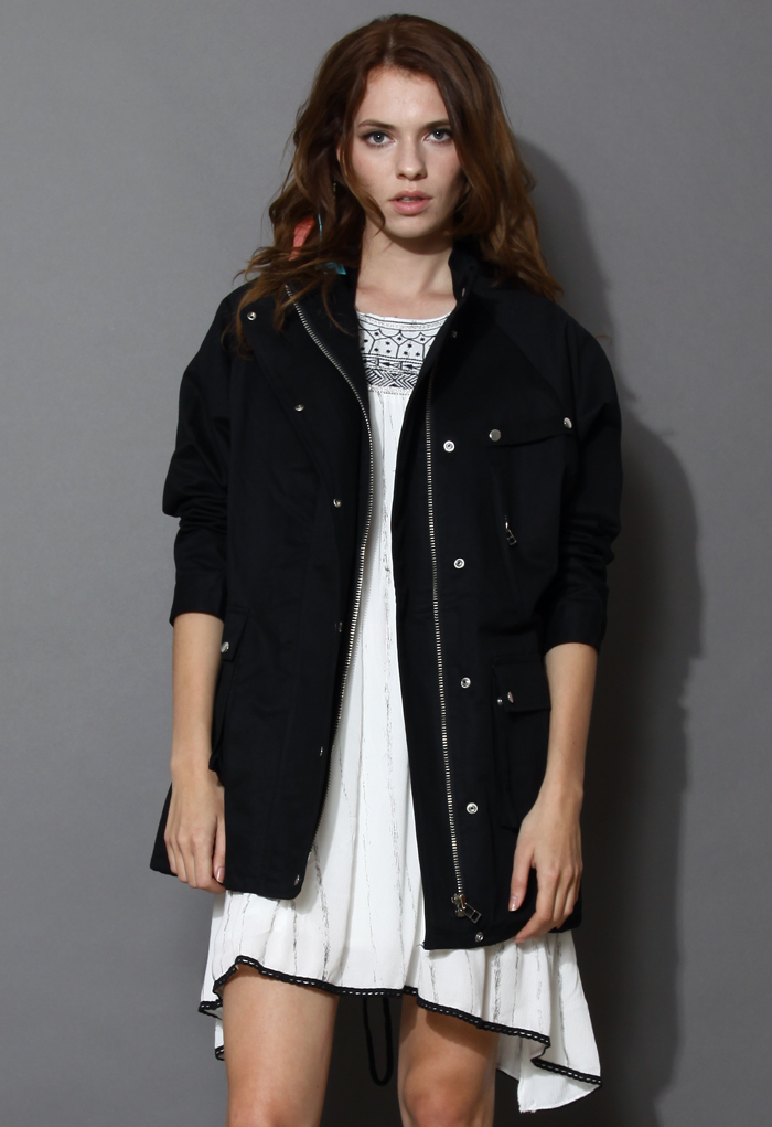 Stand Collar Military Coat in Black
