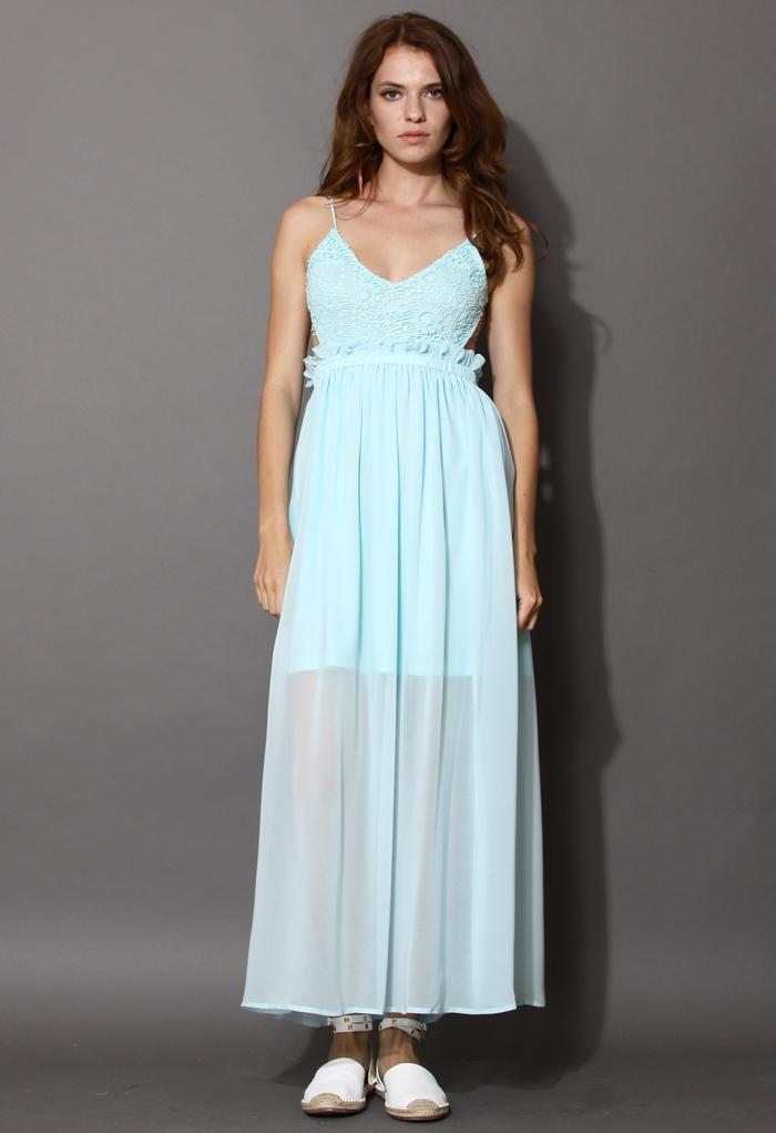 Breezy Open Back Maxi Dress in Mint Blue