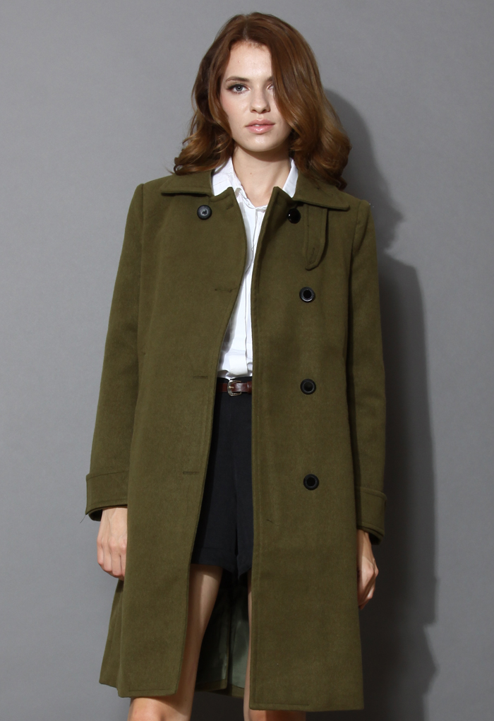 Minimal Elegance Wool-blend Coat in Military Green