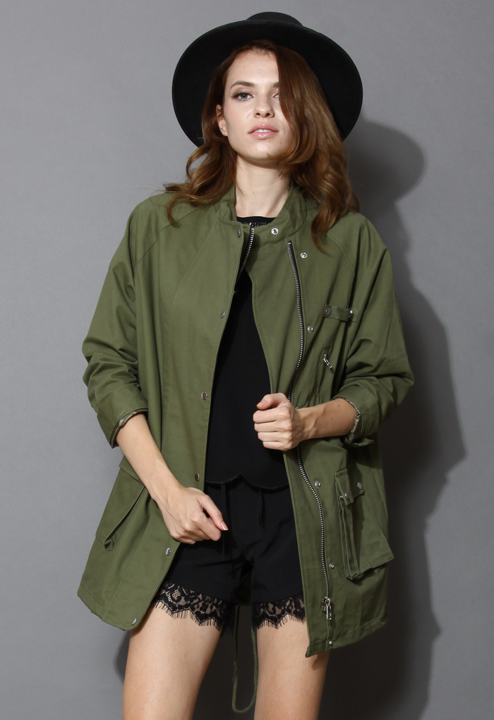 Stand Collar Military Coat in Green