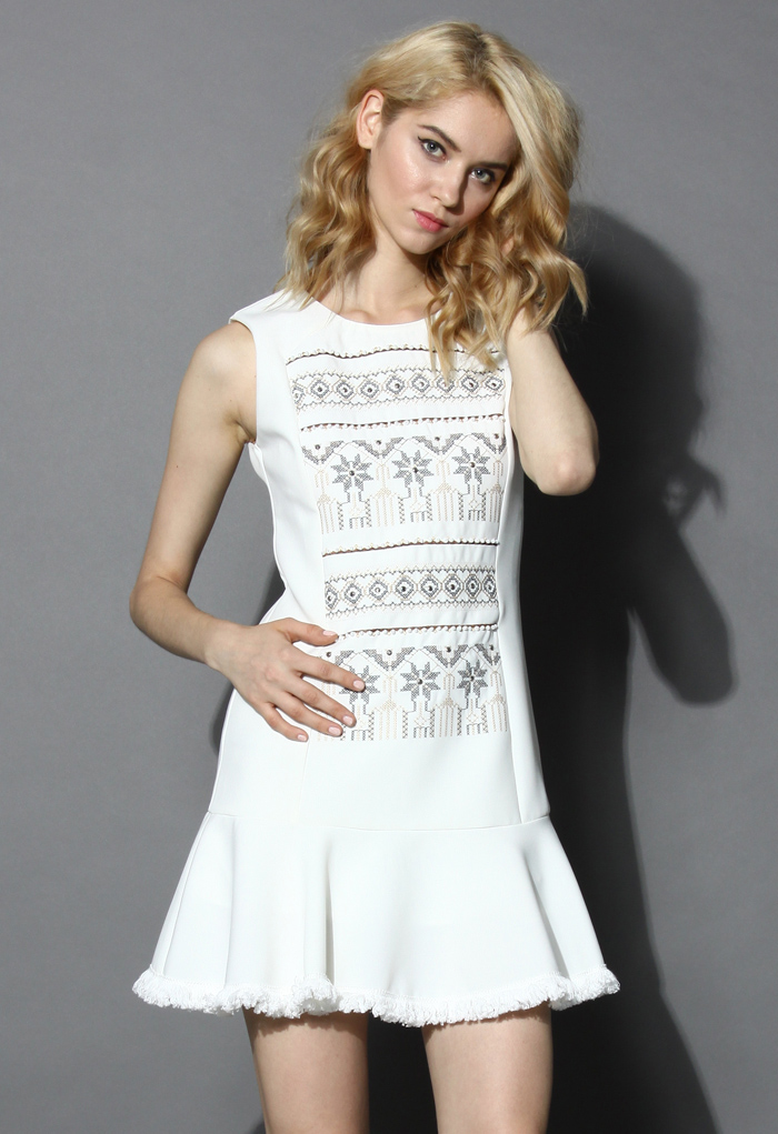 Tribal Cross Stitch Beads Embellished Dress