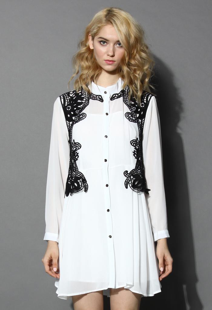 Urban Mist Crochet Trimmed Shirt Dress in White