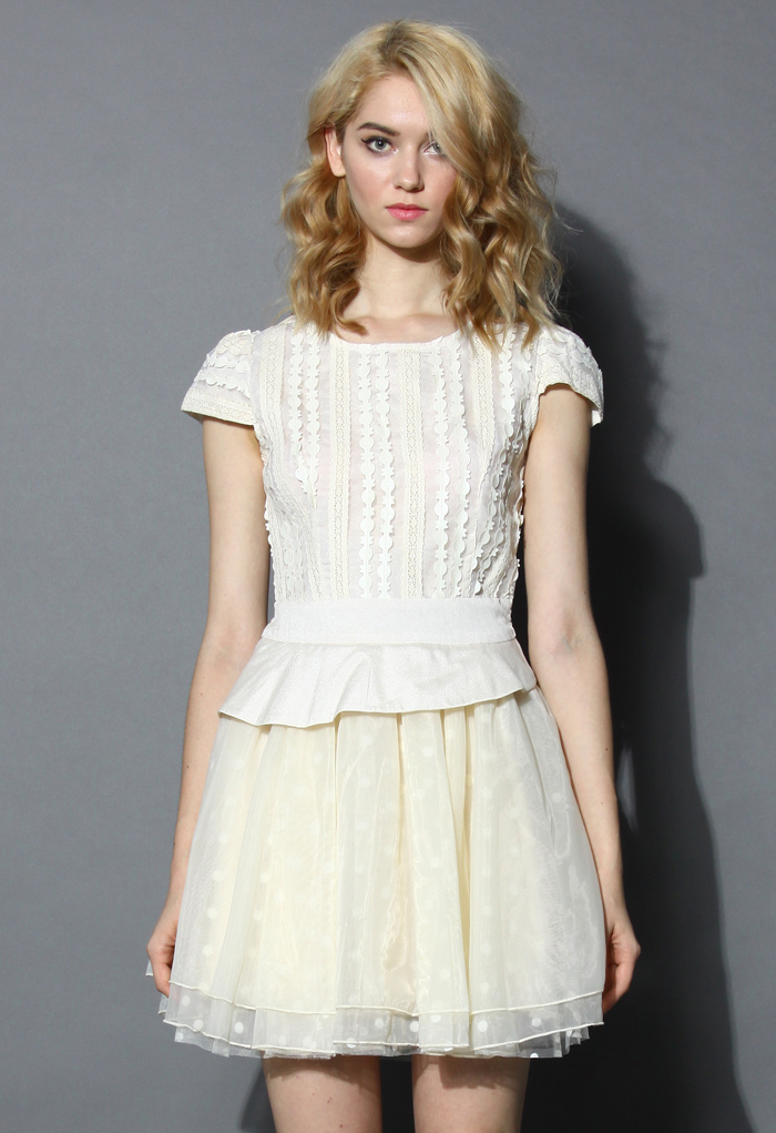 Delicacy Lace Trimmed Peplum Tulle Dress