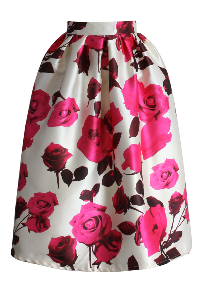 Glam Rose Print A-line Midi Skirt