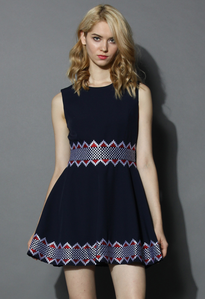 Navy Tale Sleeveless Dress with Grid Embroidery