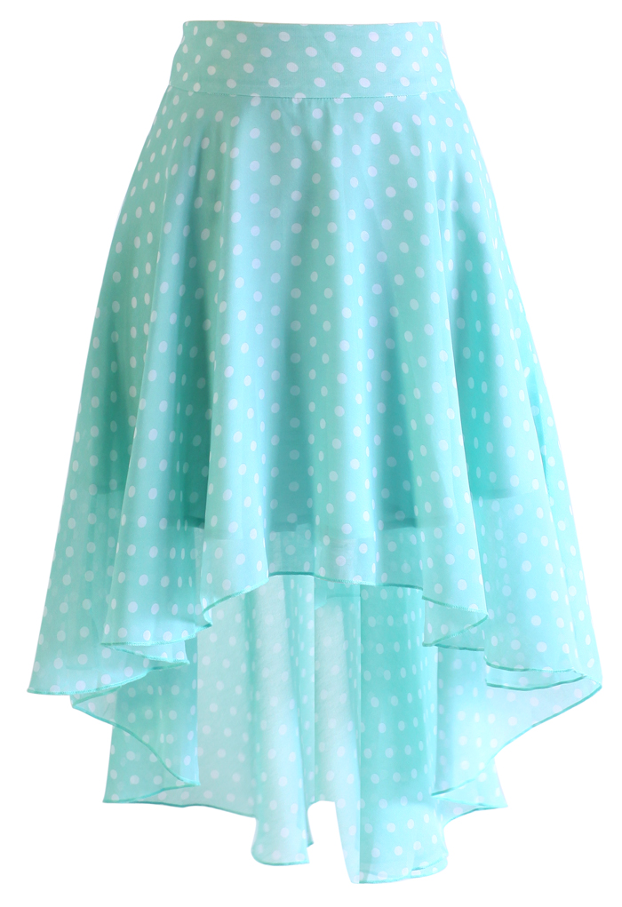 Mint Polka Dots Waterfall Skirt