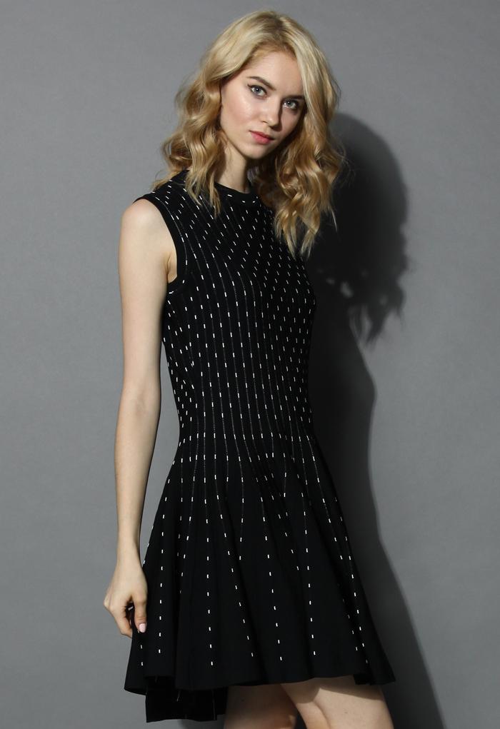 Falling Dots Knitted Skater Dress