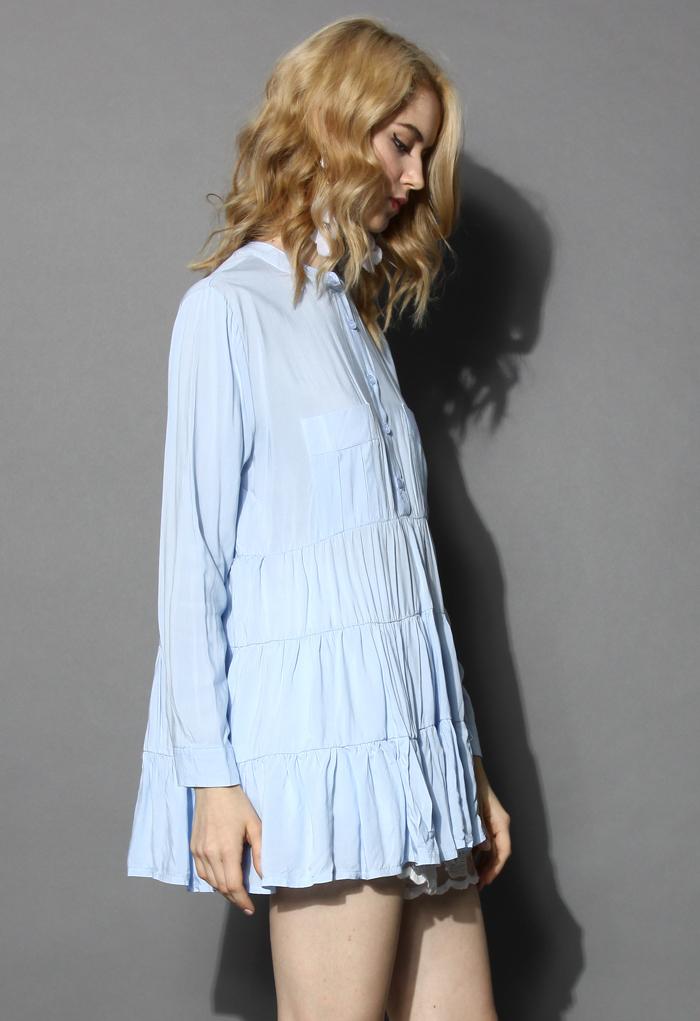 Breezy Flare Tunic in Blue