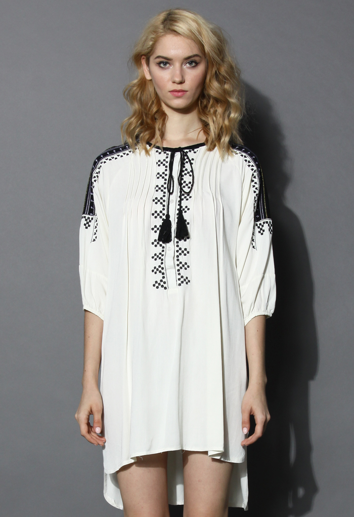 Tribal Embroidered Hi-Lo Tunic