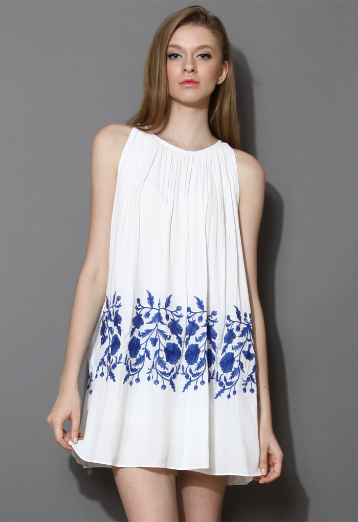Ethereal Relaxed Embroidered Dress in White