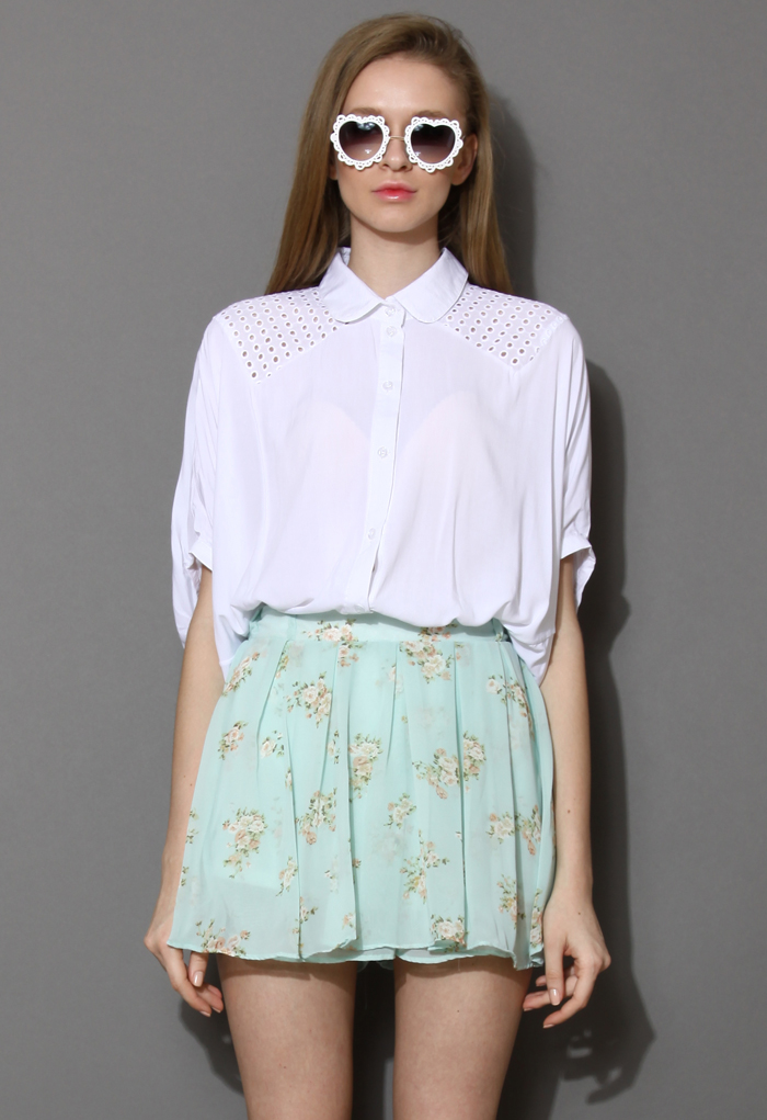 Eyelet Shoulder Batwing Top in White