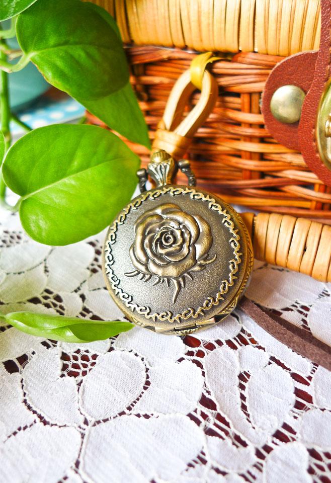 Retro Rose Pocket Watch Pendant Necklace
