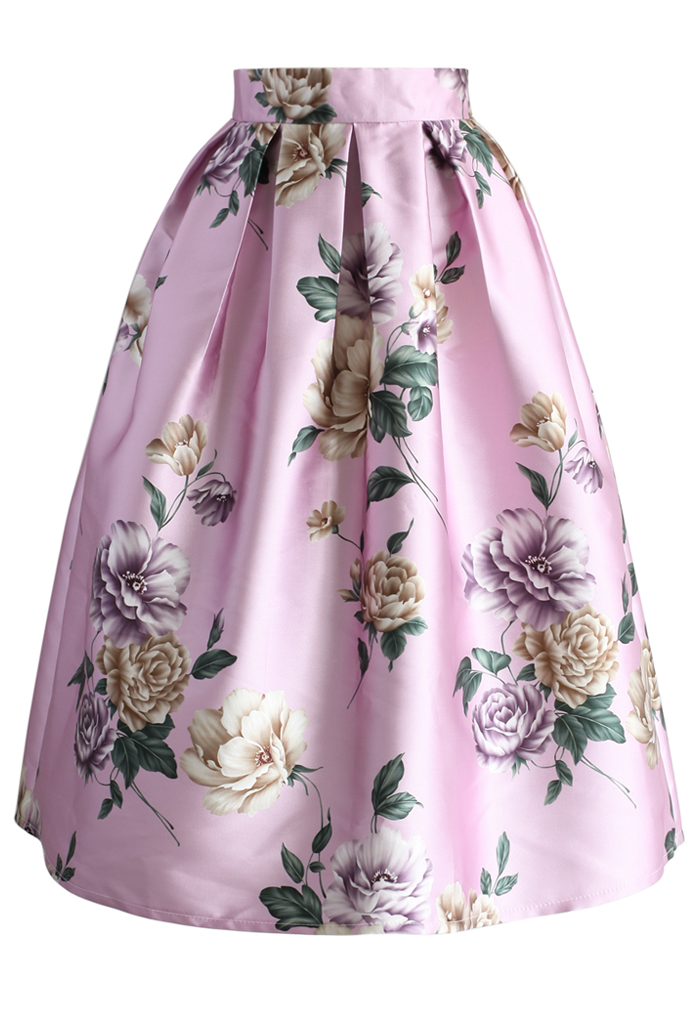 La Pretty en Roses Pleated Midi Skirt
