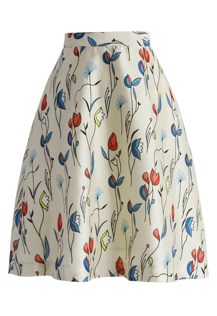 Fly With Tulips Printed Midi Skirt in Ivory