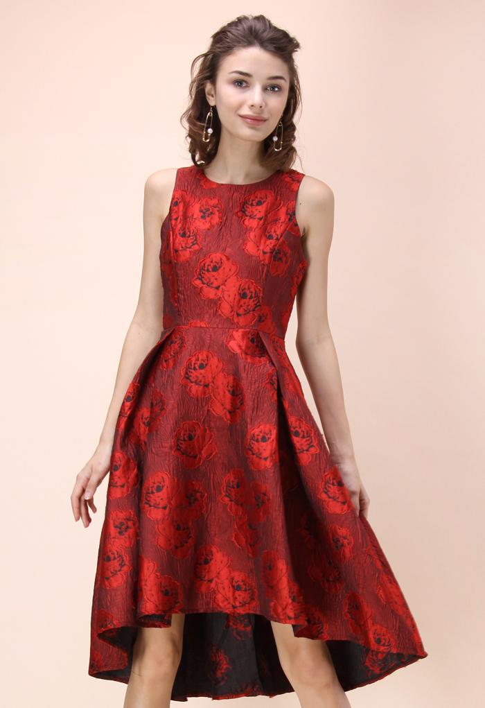 Peonies Glam Embossed Jacquard Waterfall Dress in Red
