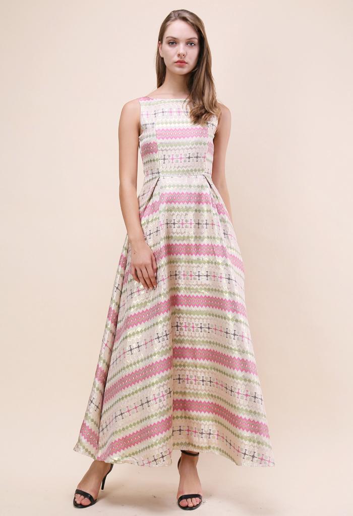 Stripe of Glitz Jacquard Maxi Prom Dress