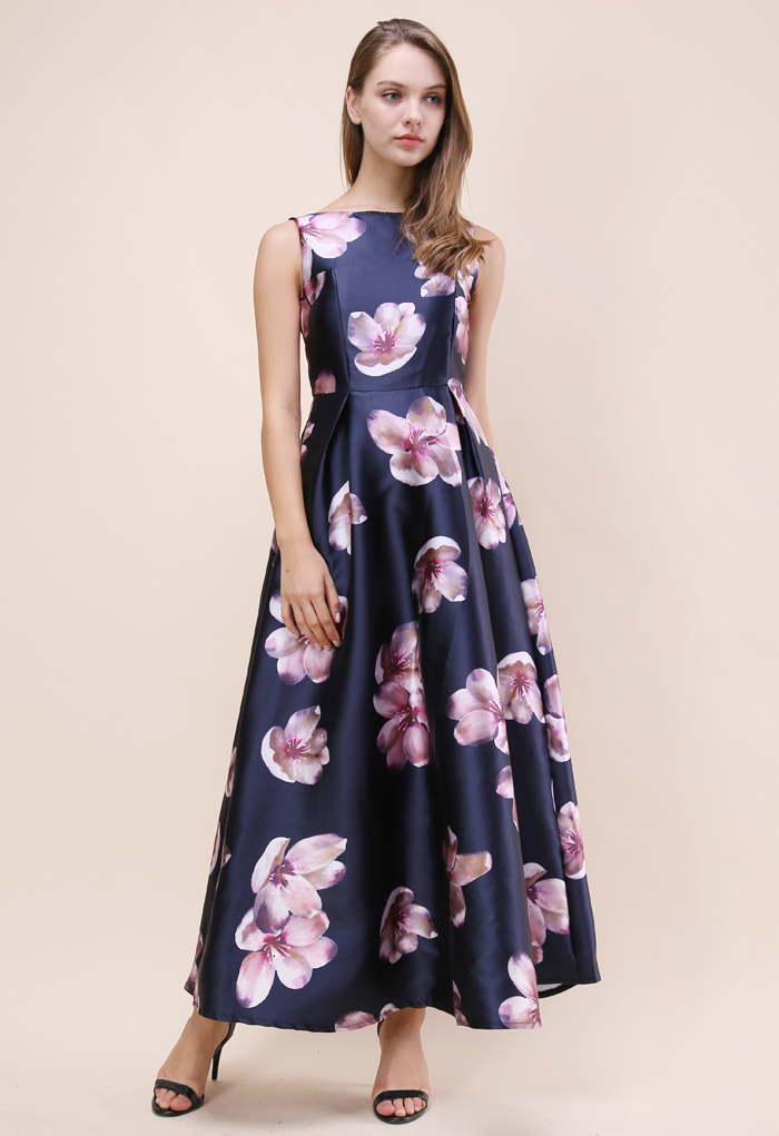 Peach Blossom Printed Maxi Prom Dress in Navy