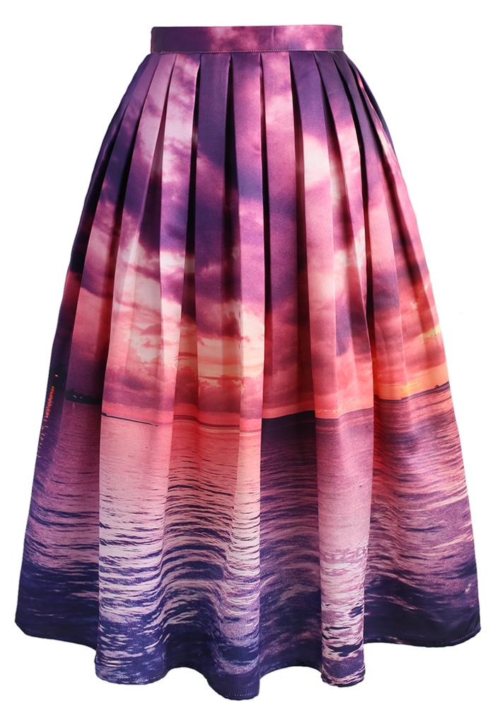 Purple Horizon Midi Skirt