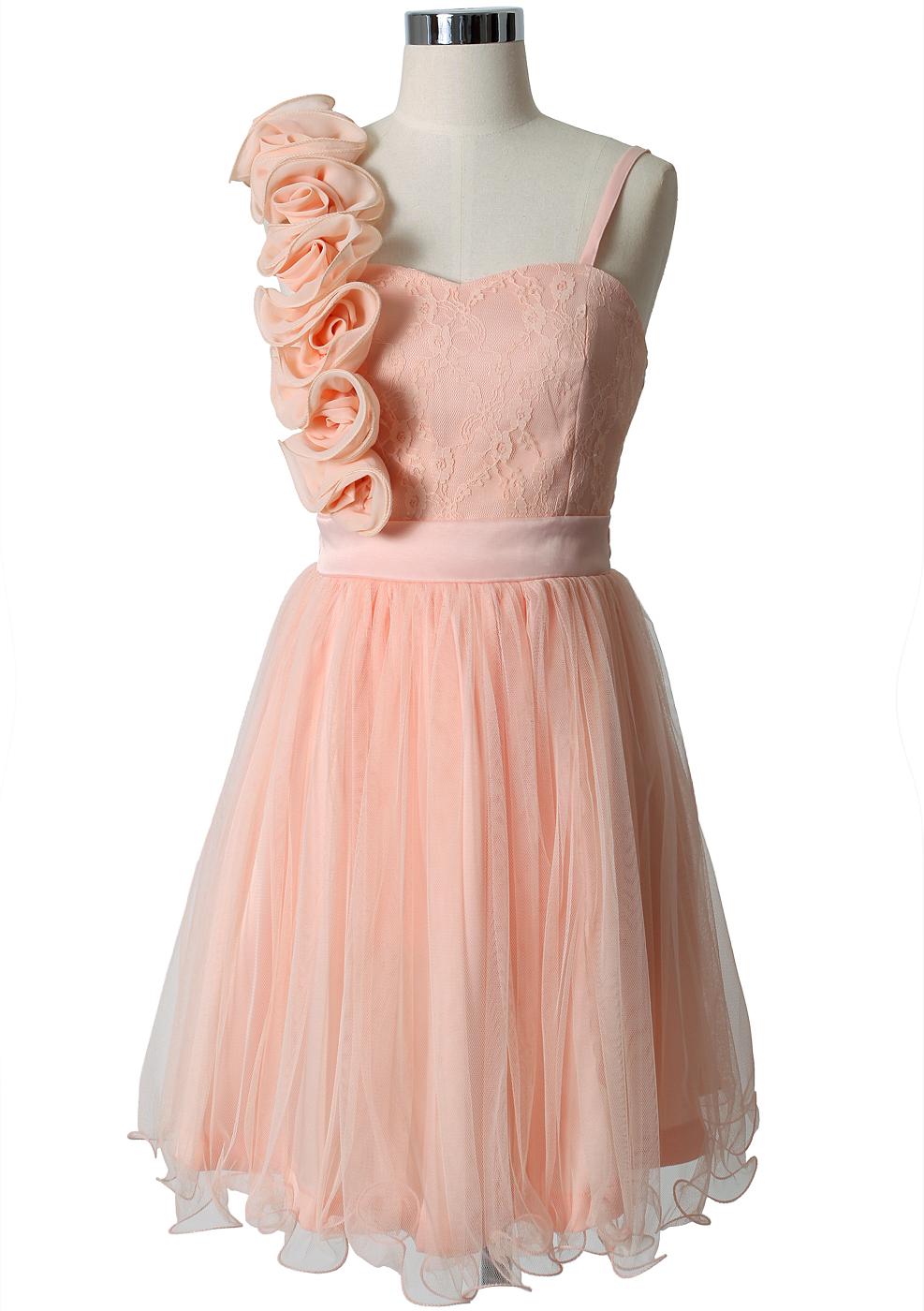 3D Flower Fluted Hemline Tulle Dress in Peach