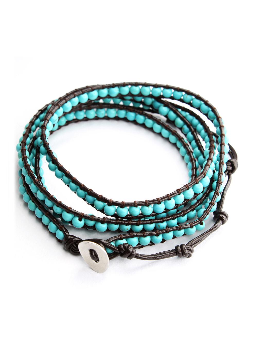 Turquoise Leather Knit Waistbelt Bracelet