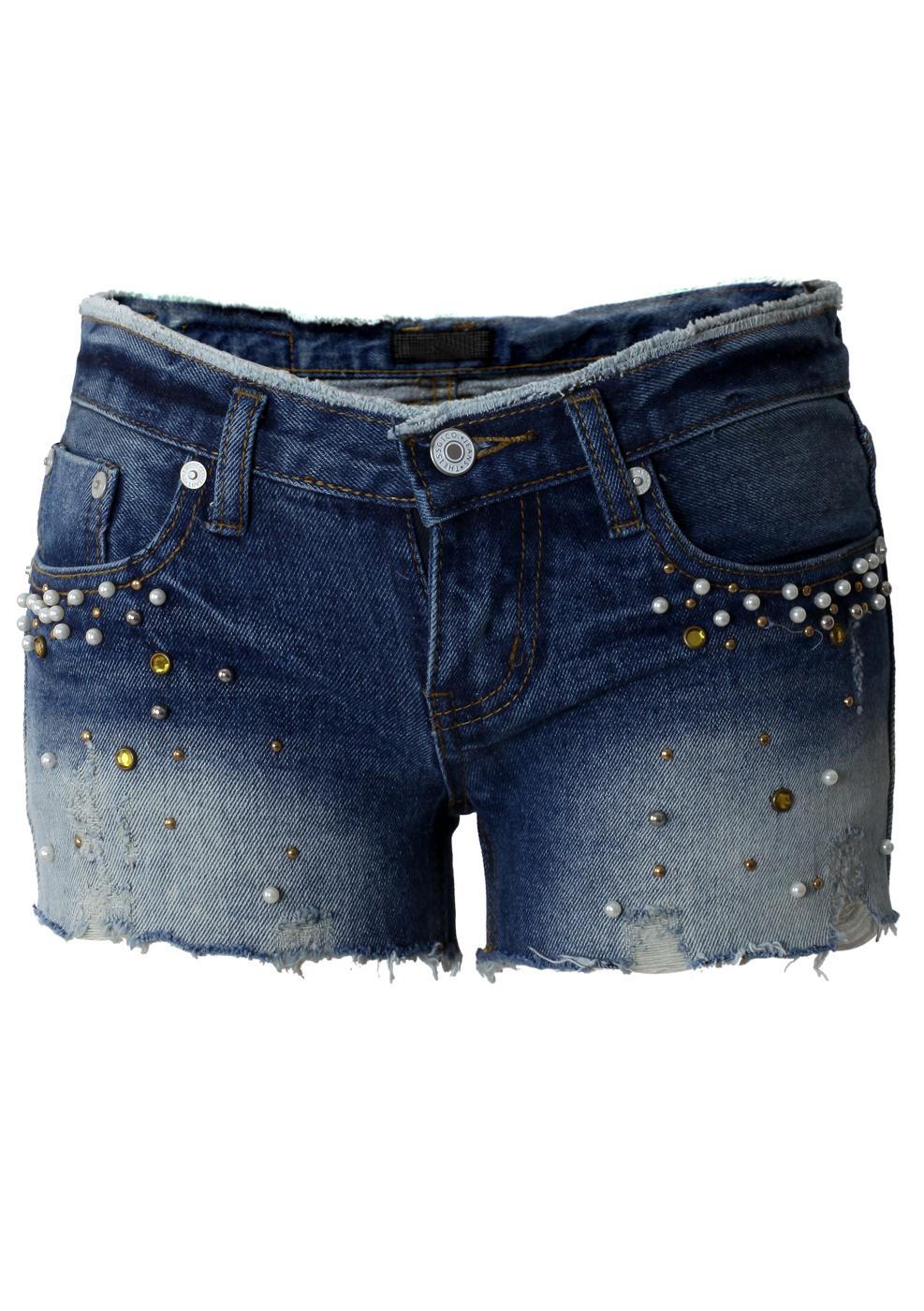 Pearl Dyed Denim Cut-off Shorts