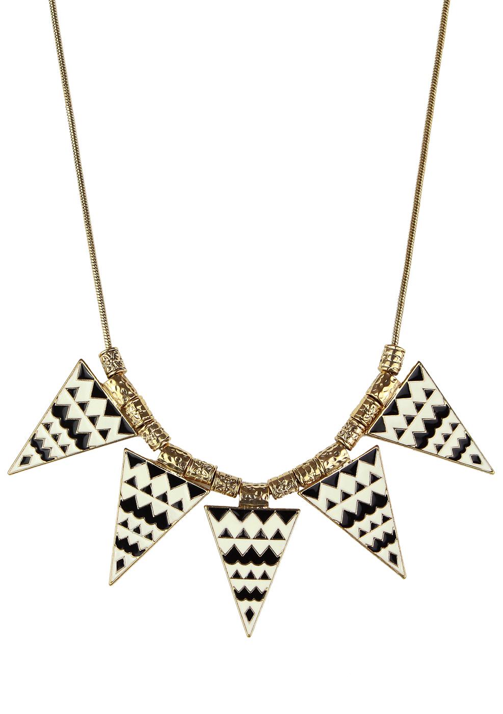 Triangle Aztec Enamel Necklace