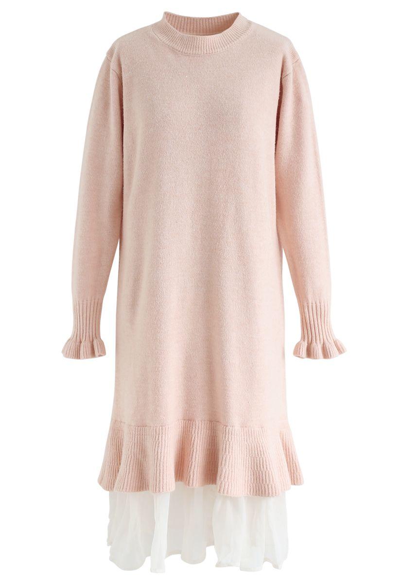 Organza Ruffle Hem Knit Shift Dress in Pink
