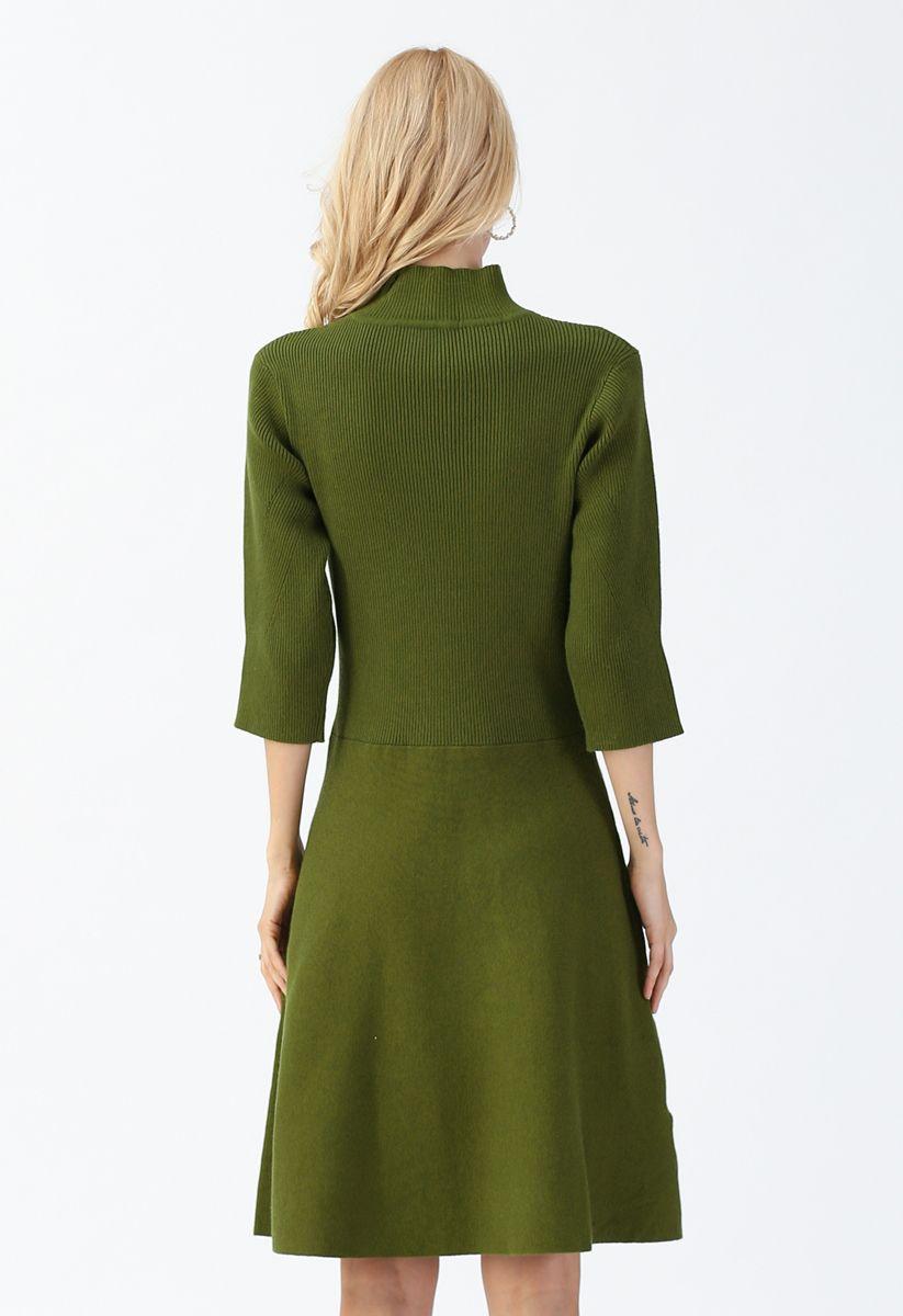 V-Shape Cutout Ribbed Knit Midi Dress in Olive