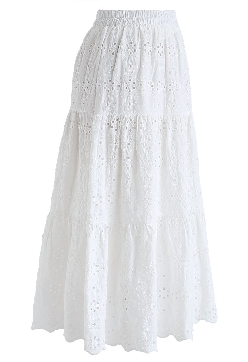 Eyelet Embroidered Midi Skirt in White