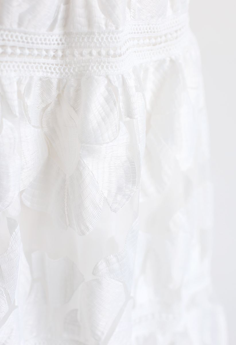 Blossom Embroidered Organza Skirt in White