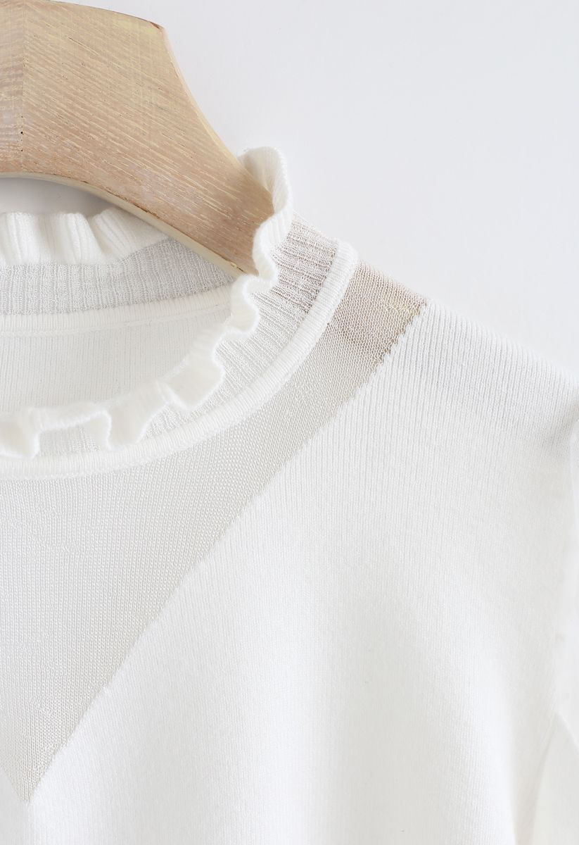 Mesh Inserted Bell Sleeves Knit Top in White