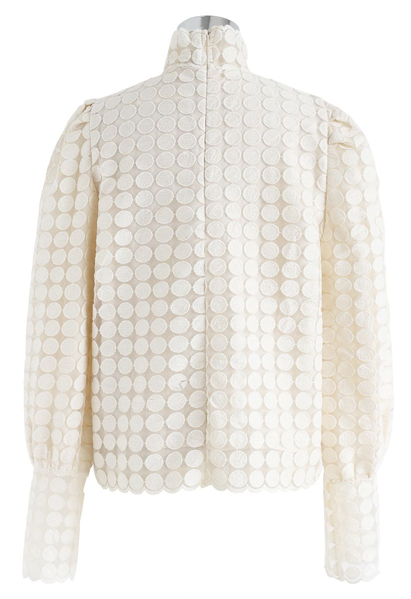 Full Circle Embroidered Mesh Top in Cream
