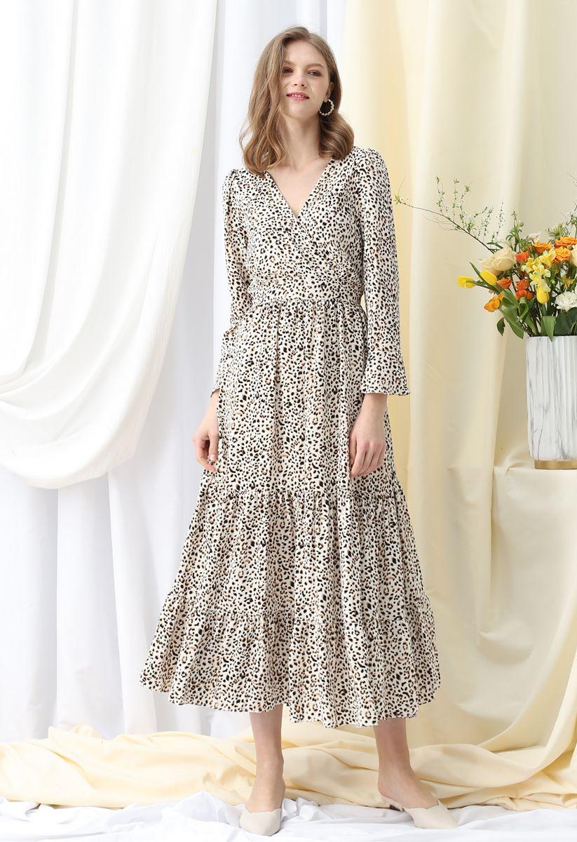 Flowy Leopard Print V-Neck Maxi Dress in Ivory