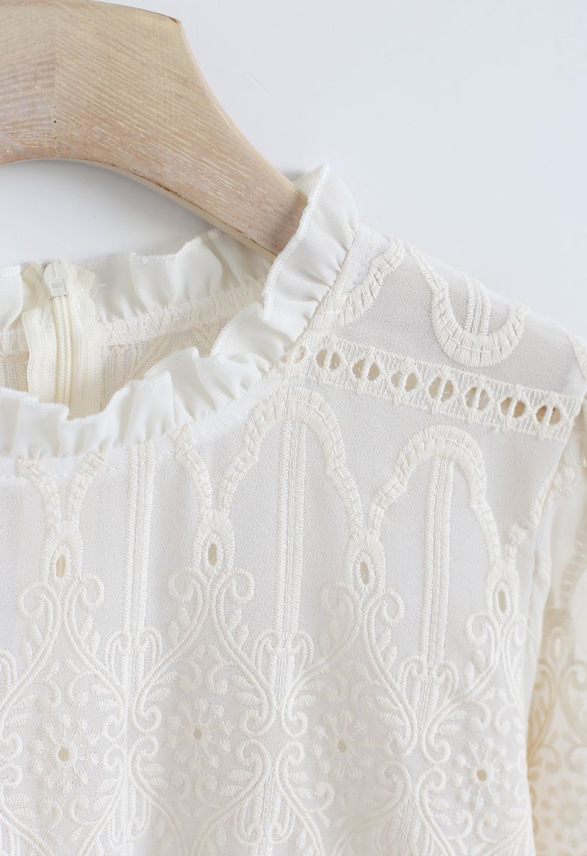 Creamy Full Embroidery Semi-Sheer Dolly Top