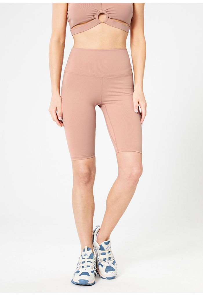Seam Detail High-Waisted Sculpt Legging Shorts in Pink