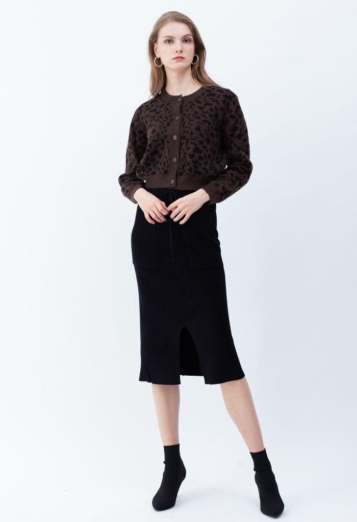 Drawstring Waist Pockets Pencil Knit Skirt in Black