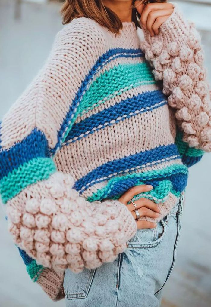 Pom-Pom Sleeve Hand-Knit Chunky Sweater