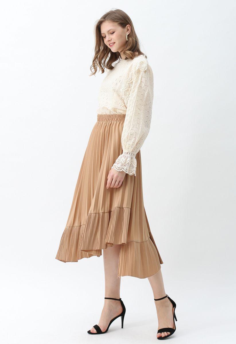 Asymmetric Hem Pleated Midi Skirt in Tan